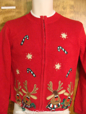 Happy Reindeer Ugly Xmas Sweater