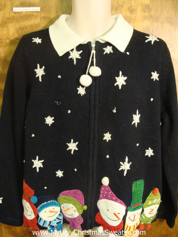 Snowmen with Snowflakes Ugly Xmas Sweater
