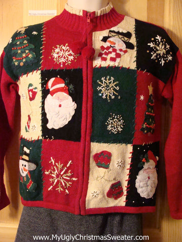 Tacky Cheap Ugly Christmas Sweater with Padded Shoulders and Pom Pom Zipper Pull (f608)