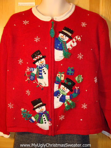 Tacky Cheap Ugly Christmas Sweater with Bead Bling and Juggling Snowmen (f609)