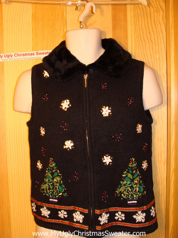 Tacky Ugly Christmas Sweater Vest with Festive Trees & Snowflakes & Faux Fur Collar   (f60)