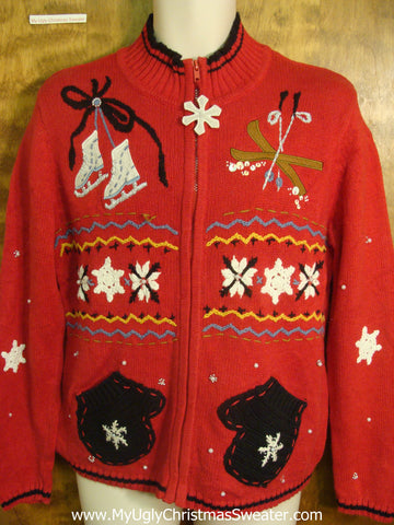 Winter Mittens, Skates, and Skis Tacky Xmas Sweater