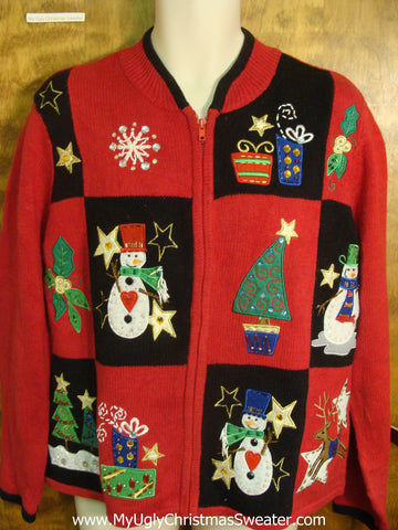 Red and Black Checkerboard Tacky Xmas Sweater