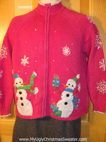 Tacky Pink Cheap Ugly Christmas Sweater with Two Huge Carrot Nosed Snowmen (f610)