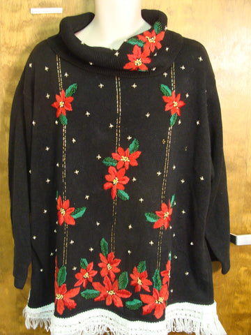 Large Poinsettias Tacky Xmas Sweater
