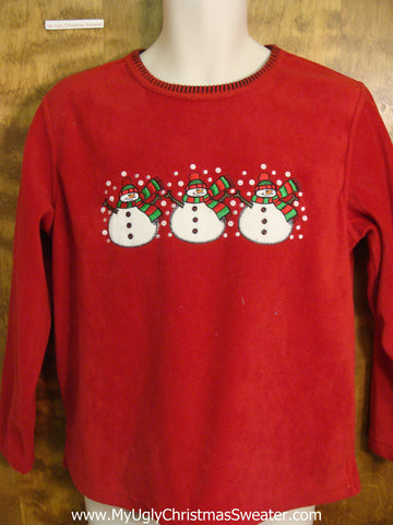 Red and Green Snowmen Ugly Fleece Sweater for a Party