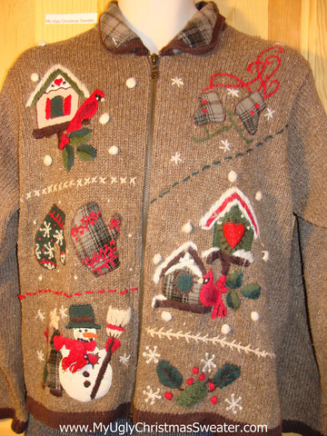 Tacky Brown Cheap Ugly Christmas Sweater with Plaid Collar (f611)