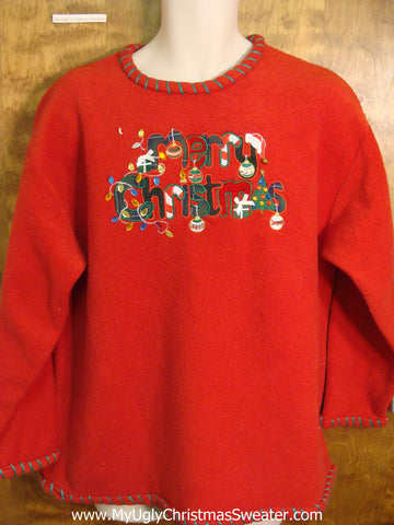 Merry Christmas Ugly Fleece Sweater for a Party
