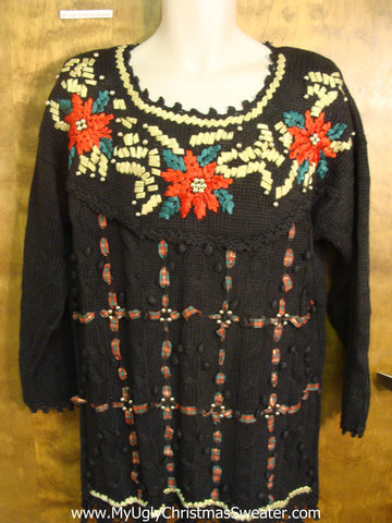 80s Poinsettias Tacky Xmas Sweater