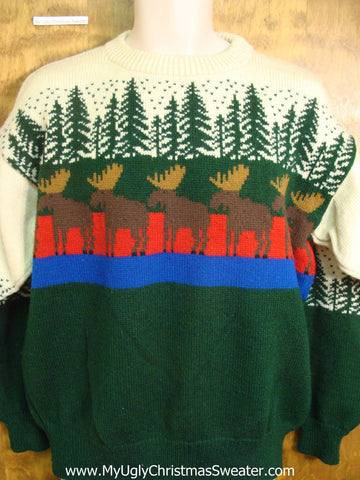 Moose and Trees Tacky Xmas Sweater