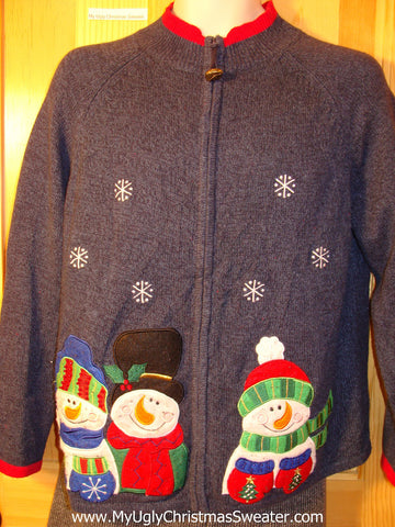Tacky Cheap Ugly Christmas Sweater with Three Giant Snowmen with Curled Carrot Noses (f612)