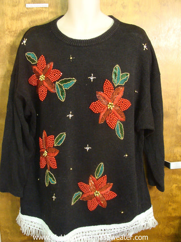 Red Poinsettias Tacky Xmas Sweater