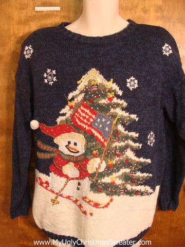 80s Skiing Snowman with USA Flag Tacky Xmas Sweater