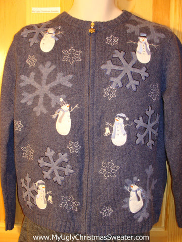 Tacky Cheap Ugly Christmas Sweater with Plump Snowmen and Super Sized Snowflakes (f613)