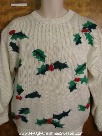 Holly and Holly Berries Tacky Xmas Sweater