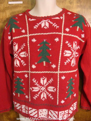 Nordic Pattern with Snow and Trees Tacky Xmas Sweater