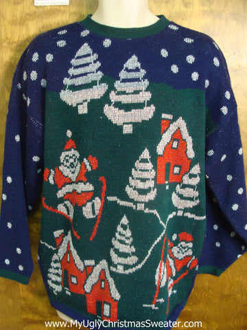 Santa Skiing in Snowy Village Tacky Xmas Sweater