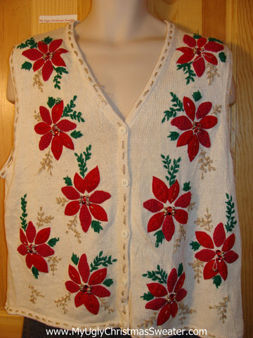 Tacky Cheap Ugly Christmas Sweater Vest with Brilliant Red Poinsettias and Bling (f614)