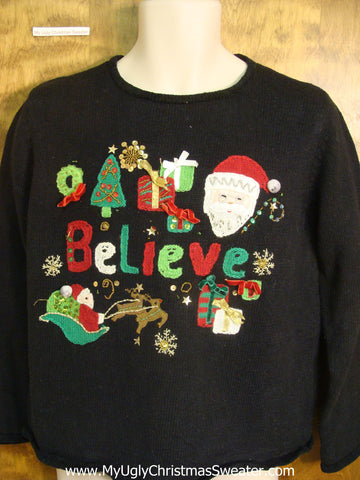 Believe in Santa Tacky Xmas Sweater
