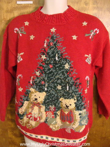 80s Teddy Bears with Tree Tacky Xmas Sweater