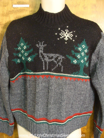 Starry Night Scene with Reindeer Tacky Xmas Sweater