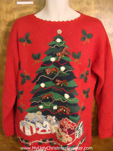 Christmas Tree with Bows and Ornaments Tacky Xmas Sweater