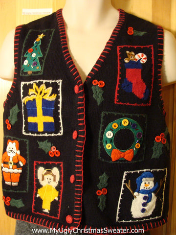 Tacky Cheap Ugly Christmas Sweater Vest with Angels on Front and Back  (f616)