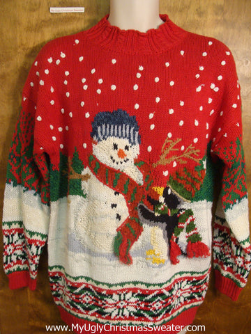 80s Snowman and Penguin Friends Tacky Xmas Sweater