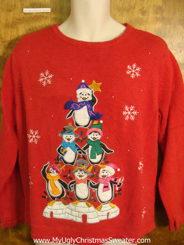 Penguin Pyramid of Friends Tacky Xmas Sweater