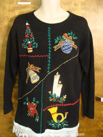 Asymmetrical Christmas Design Tacky Xmas Sweater