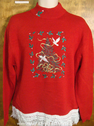 Christmas Tree with Doves and Holly Tacky Xmas Sweater