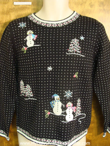 Black and White Spotted Sweater Tacky Xmas Sweater