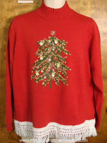 Bling Xmas Tree with Ornaments Tacky Xmas Sweater