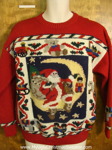 Santa Over The Moon Tacky Xmas Sweater