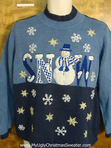 Blue SNOW Tacky Xmas Sweater