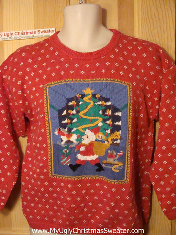 Tacky Ugly Christmas Sweater with 2sided Snowflakes & Santa (f61)