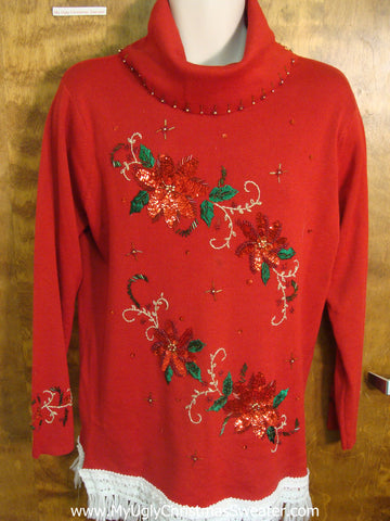 Large Poinsettias Christmas Sweater