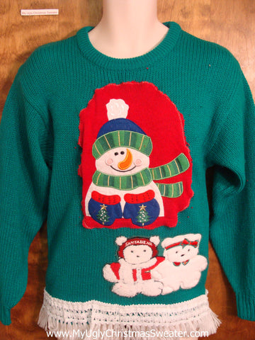 Snowman and Teddy Bears Christmas Sweater
