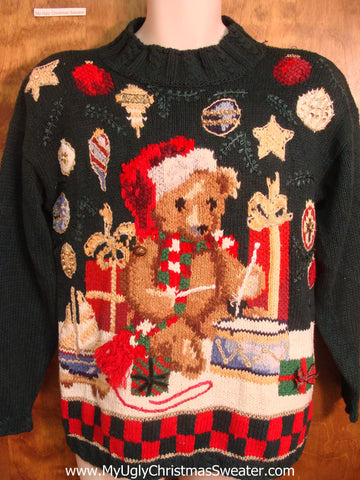 Teddy Bear Playing The Drum Christmas Sweater