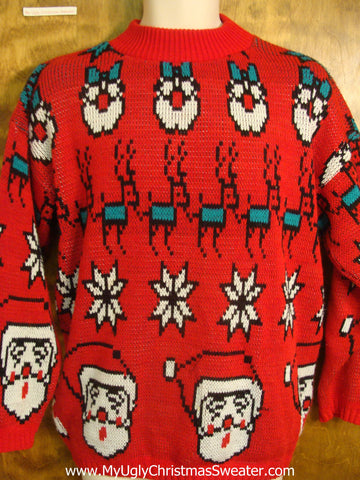 Best 80s Busy Retro Red Christmas Sweater