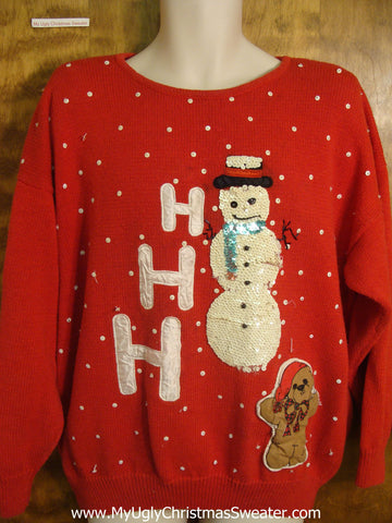 HoHoHo Sequin Snowman Christmas Sweater