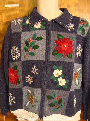 Festive Poinsettias and Flowers Christmas Sweater