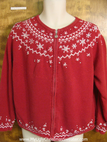 Red and White Snowflake Nordic Christmas Sweater