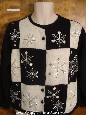 Black and White Checkered Christmas Sweater