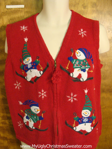 Holiday Snowmen Skating Christmas Sweater Vest