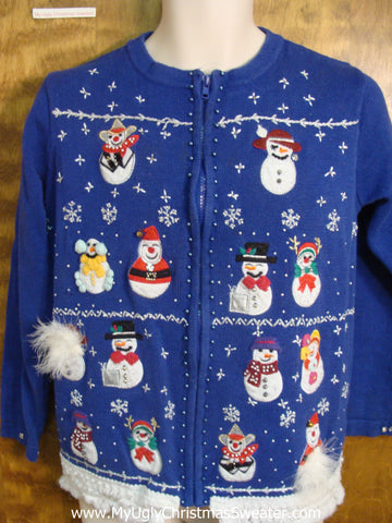 Jolly Snowmen and Feather Accents Christmas Sweater