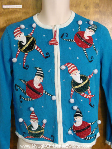 Candy Cane Striped Santas Cheap Christmas Sweater