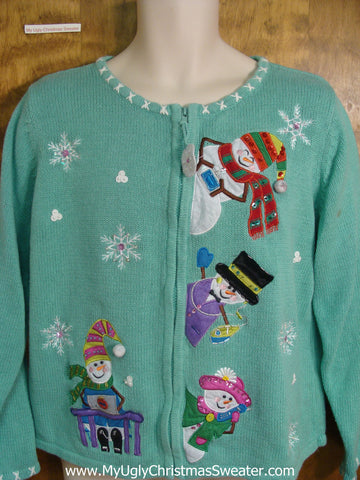Colorful Jolly Snowmen Cheap Christmas Sweater