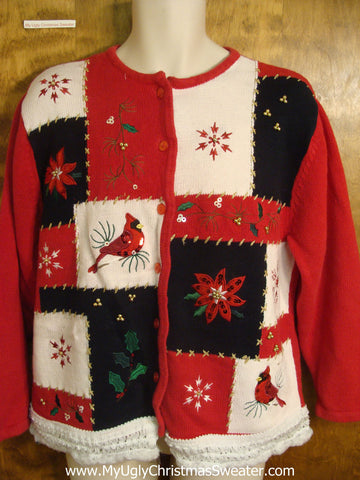 Red, Black, and White Patchwork Christmas Sweater
