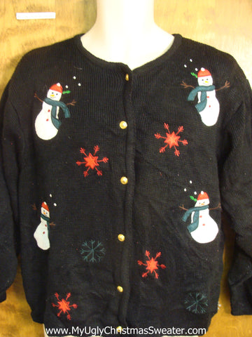 Santas with Red and Green Snowflakes Christmas Sweater